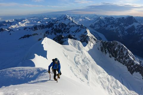 Tim Elson approaches the summit of Mt Tasman