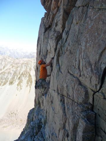 Climbing new route at Cloudy Peak