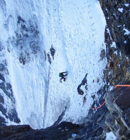Chaz following one of the ice fields Eiger North Face