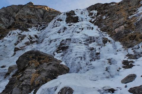 Twenty File Mile Falls. WI4R, 100m. The main flow in the centre of the cirque.