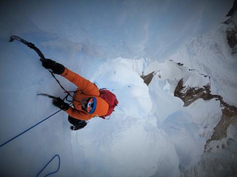 Daniel Joll topping out the summit mushroom Cerro Torre
