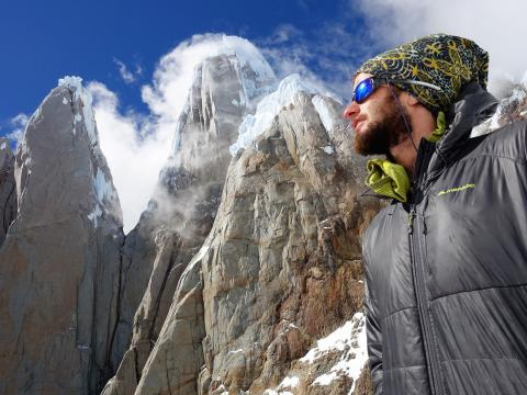 Kim looking back to Cerro Torre