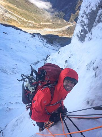 It helps to have a light jacket if you pack too much climbing gear. Jaz Morris on the South Face Mt Joffre